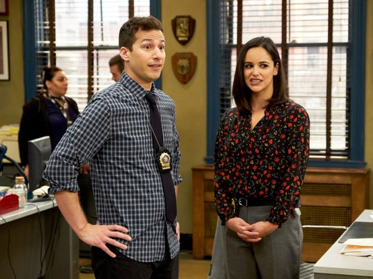 "Fox's ""Brooklyn Nine-Nine,"" starring Andy Samberg and Melissa Fumero, is one of 30 network series ""on the bubble"" this season."