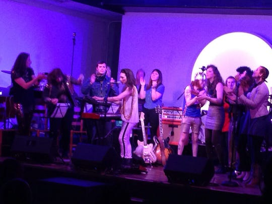 Shara Worden (center left, on keyboards) performed with members of the Detroit Party Marching Band at Trinosophes as part of Culture Lab Detroit in April, 2014.