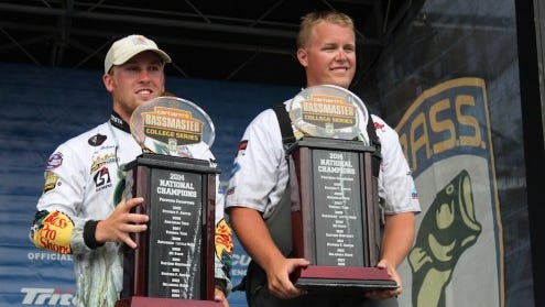 Former Reynolds football player Jake Whitaker, right, was part of the winning team at the the Carhartt Bassmaster College Series National Championship in Young Harris, Ga.