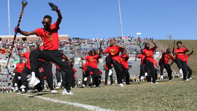 Members of the Grambling band dance at halftime of a game earlier this year at Eddie Robinson Stadium. The Tigers play Alabama State in Shreveport on Saturday.