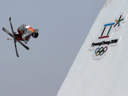 GusKenworthy, of the United States, jumps during the men's slopestyle final at Phoenix Snow Park at the 2018 Winter Olympics in Pyeongchang, South Korea, Sunday, Feb. 18, 2018. (AP Photo/Kin Cheung)