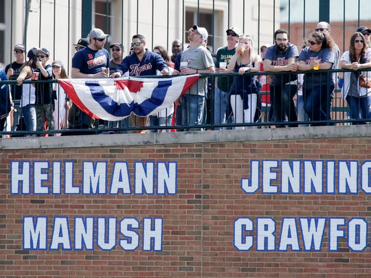 Fans watch the Detroit Tigers play the Boston Red Sox at Comerica Park on April 9, 2017.