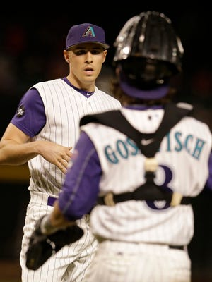 Sept. 15, 2016; Phoenix; Arizona Diamondbacks starting pitcher Patrick Corbin (46) celebrates with catcher Tuffy Gosewisch (8) after defeating the Los Angeles Dodgers 7-3 at Chase Field.