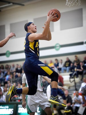 Raider Nate Beamer takes to the air to score two against Donegal Tuesday, Feb. 2.