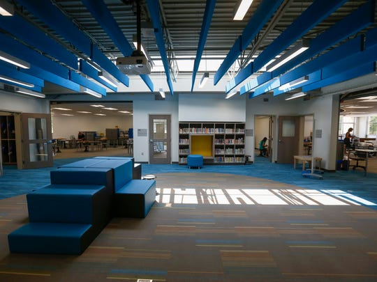Natural light spills into the common area in the 4-5 grade section of Fremont Elementary School.