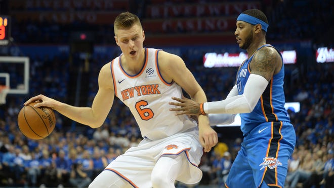 Oct. 19: Kristaps Porzingis and the Knicks began the post-Carmleo Anthony era with a 105-84 loss to the former face of the franchise and his new Thuder teammates.