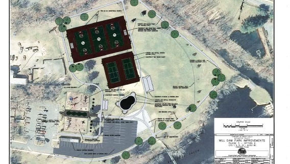 Renderings of improvements at Mill Dam Park and Buttonwood Lake Dam in Mount Holly.