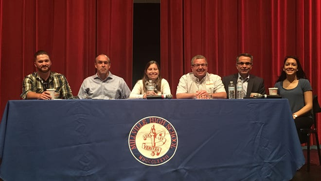 (From left) Shea Jones, Mike LeMole, Mary Staehle, Charles Fralinger, Larry Merighi and Yazmin Moreno recently participated in a question-and-answer session to share career information with Millville students.