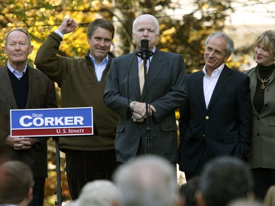November 6,. 2006 - Senator John McCain speaks to a crowd of supporters gathered in Knoxville Monday morning to show their support for republican senate candidate Bob Corker . In addition to McCain, Corker was joined by senator Lamar Alexander (cq), Bill Frist and Corker's wife Elizabeth for Monday's swing across the state.