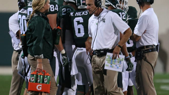 Michigan state head coach Mark Dantonio on the sidelines during third quarter action against Jacksonville State on Friday, August 29, 2014  at Spartan Stadium in East Lansing.   Kirthmon  F. Dozier/Detroit Free Press