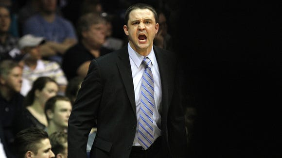 Butler head coach Brandon Miller calls out to an official during the game against Seton Hall Saturday March 8, 2014 at Hinkle Fieldhouse. Butler won 71-54.