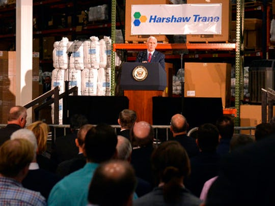 Vice President Mike Pence speaks at the Harshaw Trane Parts and Distribution Center, Saturday, March 11, 2017, in Louisville, Ky. Pence said that the so-called Obamacare law had failed the nation and the Trump administration would need the backing of rank-and-file Republicans to pass their health care overhaul.