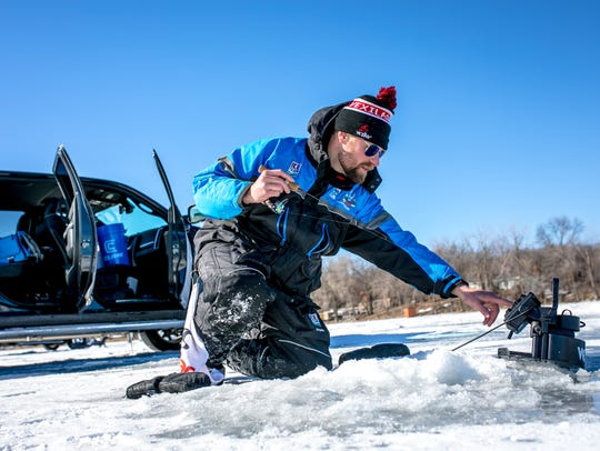 Ice Team Member Boomer Stelmach dials in his Vexilar