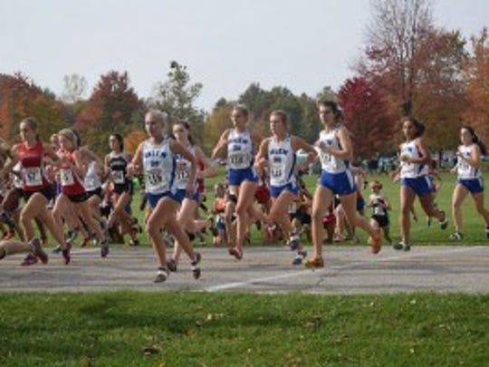 The Salem Rocks, led by Shea Wilson (No. 116) are off and running at Saturday's D1 regionals.
