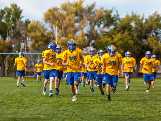 The Parowan football team practices on Tuesday, September