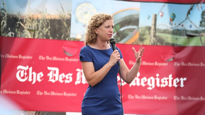 Debbie Wasserman Schultz, chairwoman of the Democratic National Committee and U.S. Representative from Florida, speaks at the Des Moines Register Political Soapbox on Saturday, Aug. 16, 2014, at the Iowa State Fair in Des Moines, Iowa.