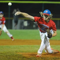Randolph West's Joe Reed delivers a pitch in the first inning against Freehold Township in Game 2 of the NJ Little League State Tournament in Gloucester City, Thursday, July 28, 2016. Joe Warner/ Special to the Press