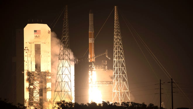 A United Launch Alliance Delta IV rocket lifts off from Complex 37 at Cape Canaveral Air Force Station, FL Thursday, February 20, 2014.  The rocket is carrying a GPS IIF satellite.