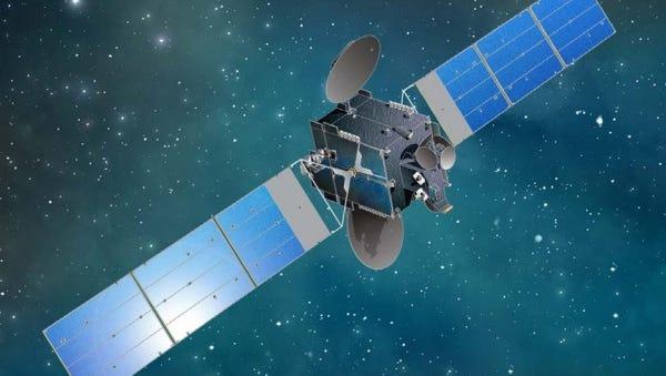 Artist rendering of Sky Perfect JSAT's JCSAT-16 satellite in orbit.