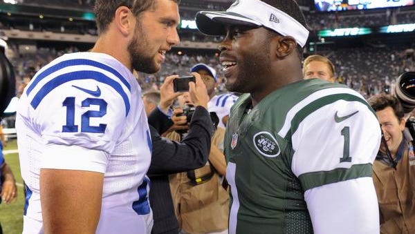 Michael Vick, who will be the Jets' No. 2 quarterback vs. the Giants, greets the Colts' Andrew Luck, left, after a preseason game on Aug. 8.