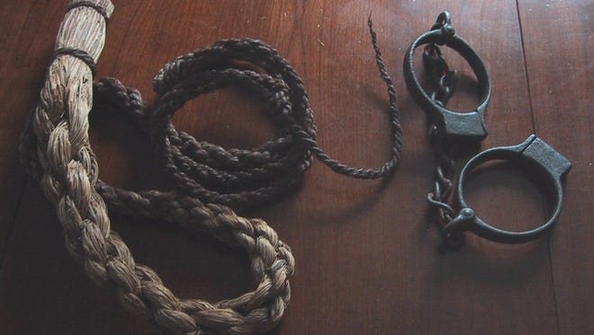 Whip and manacles reportedly found at The Mount, the mansion originally built by James DeWolf.