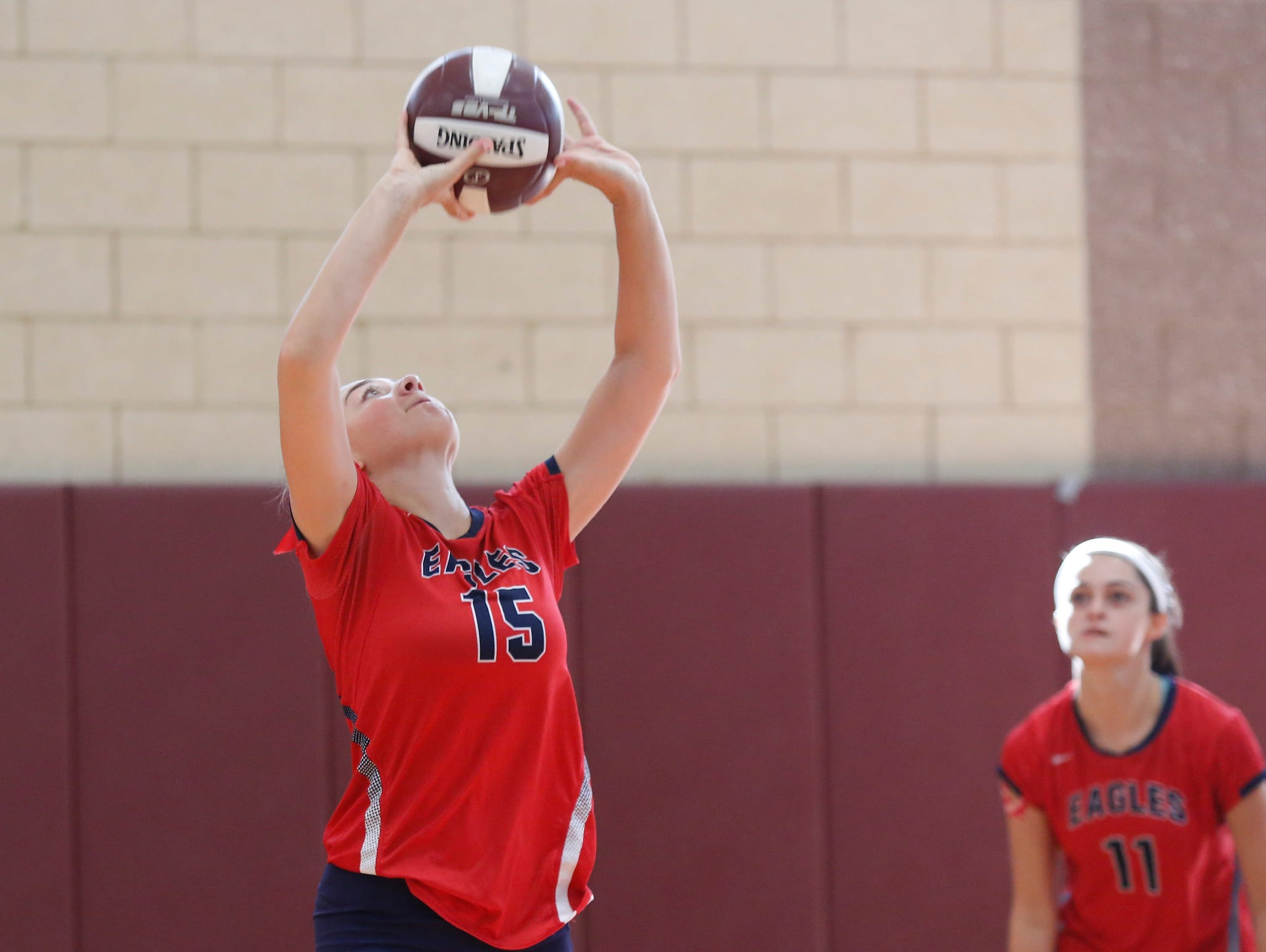 Eastchester in action during the Scarsdale volleyball tournament at Scarsdale High School on Saturday, September 17, 2016.
