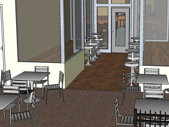An artist rendering of an outdoor seating area at Brinx