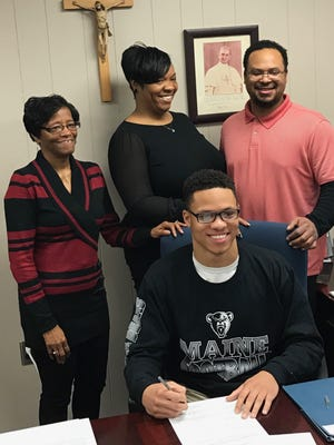 With family joining in, Paul VI senior Erick Robertson signed his National Letter of Intent on Wednesday to attend the University of Maine.