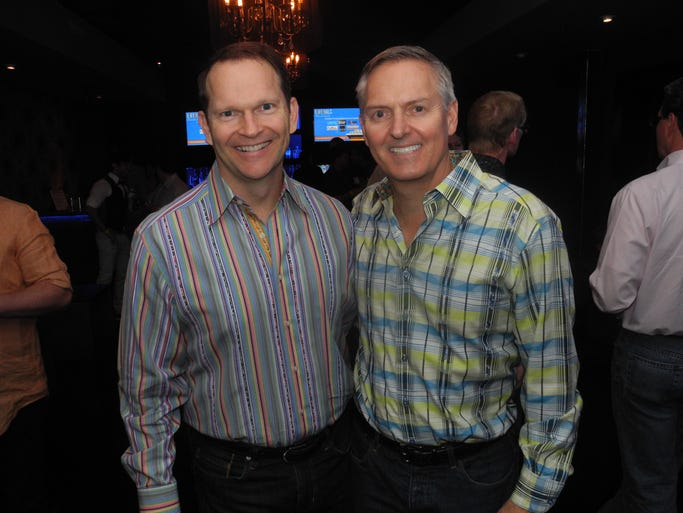 Keith Little, left, and Sam Felker, at Bon Voyage Wanderlust, a fundraiser for the Brooks Fund of the Community Foundation of Middle Tennessee, held at Anthem.