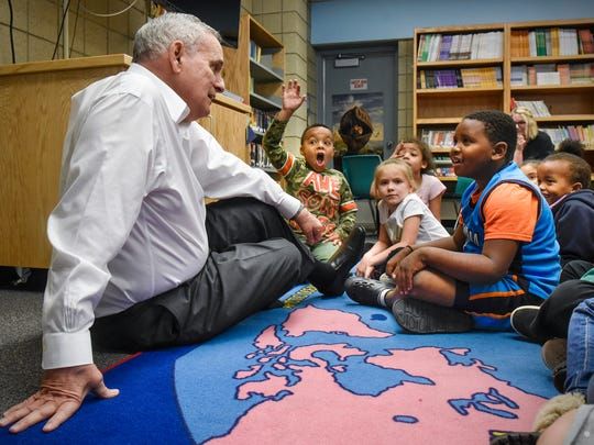 Gov. Mark Dayton fields questions from Talahi Community School students Thursday, May 10, in St. Cloud during a tour to promote his proposal for emergency school aid.