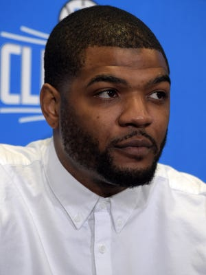 Los Angeles Clippers forward Josh Smith at news conference at the Staples Center.