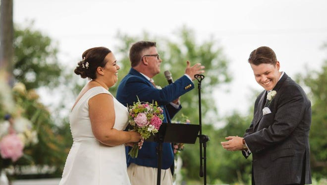 Fox 6 news anchor Ted Perry officiates at the 2016 wedding of his nephew, Adam Steger, and his bride, Rosie, in Illinois. For the first time Saturday, Perry will preside at the wedding of non-relatives whom he didn't know. He was ordained online by the Universal Life Church.