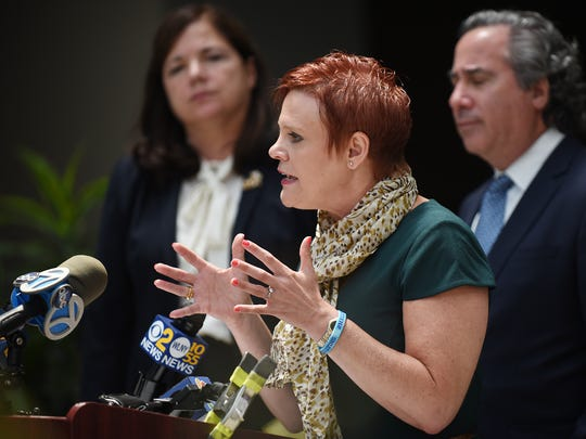 The Grossman family files lawsuit after their daughter Mallory commited suicide. Shown during a press conference at Nagel Rice Law Offices in Roseland, NJ in Tuesday June 19, 2018. (From left) Diane H. Sammons, Diane Grossman and Bruce H. Nagel.