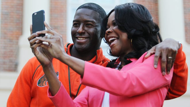 Tallahassee Mayor Andrew Gillum takes a selfie with Broadway and TV star Angela Robinson Saturday. They are both Florida A&M University alumni. Tallahassee residents and visitors filled Florida A&M University's campus Saturday to watch the annual homecoming parade. More than two dozen organizations--including youth groups, community centers, churches and others--participated. It was the first time in the parade's 50-year history that the parade didn't start in Frenchtown.