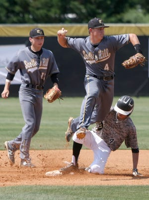 After getting Loretto's Kendall Franklin (4) out at second, Scotts Hill's Evan Russell (4) turns the double play during Spring Fling at Middle Tennessee Christian School's Joe Baron Field, in Murfreesboro, Tenn., on Thursday, May 26, 2016.