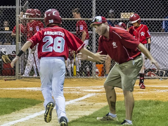 Holbrook's Anthony Abbonizio (28) is congratulated after homering at the State Little League Tournament game 4, Swedesboro vs. Holbrook at the Kittatinny Little League field in Newton, July 28, 2017. (Photo by Warren Westura for the Asbury park Press)