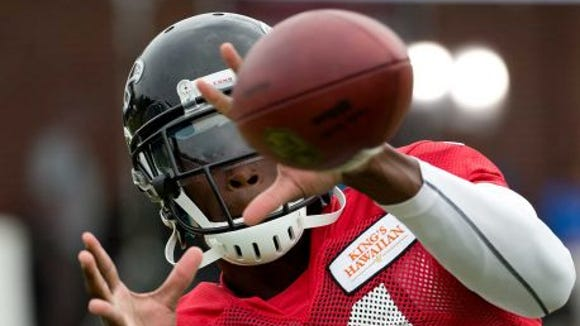 Former Alabama receiver Julio Jones is working his way back to playing for the Atlanta Falcons when the 2014 season starts.