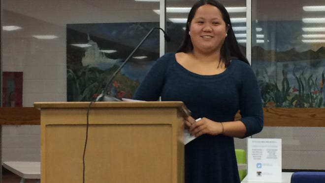 Verona High School senior Caleigh Holton discusses her trip to China, during a Nov. 29 Board of Education meeting.