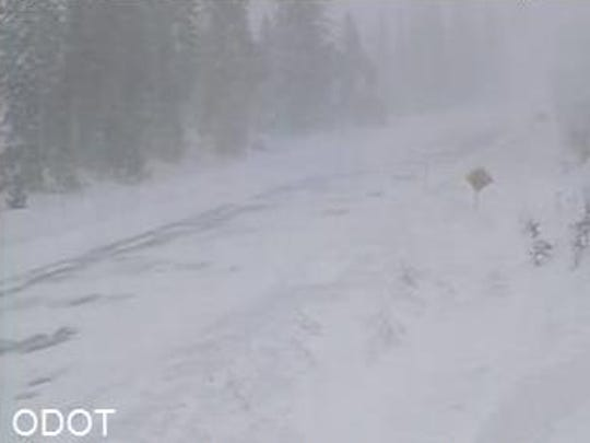 Blizzard conditions on Santiam Pass Wednesday morning.
