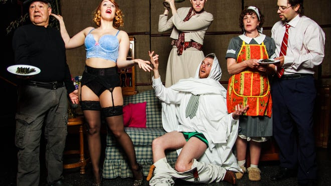"""Lou Trapani, left to right, Amber McCarthy, Courtney Constantino, Kevin Archambault, Susan Gies and Tom Bunker are shown in a scene from Up in One Productions' """"Noises Off."""""""