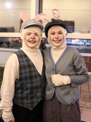 "Characters, Millie Treadway (Peter Rabbit) and Ben Hurbis (Benjamin Bunny), pose for a picture after the play, ""The Tale of Peter Rabbit and Benjamin Bunny,"" presented by the Jackson Teen Theatre March 16 at the Ned in downtown Jackson."
