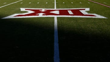Big 12 logo on the field before the game between the Oklahoma Sooners and TCU Horned Frogs at Gaylord Family - Oklahoma Memorial Stadium.