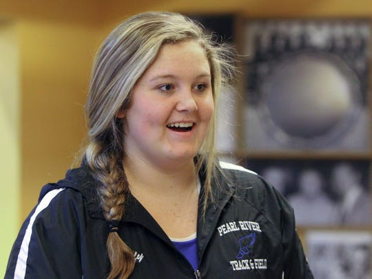 Pearl River weight thrower Kacey Duffy at the Section