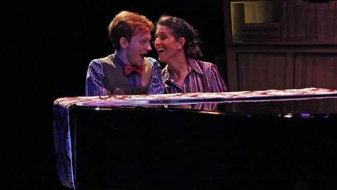 """Williamston Theatre's """"Murder For Two"""" was named best musical and its entire cast – that's Andrea Wollenberg and Mark Schenfisch – won for best actress and actor."""
