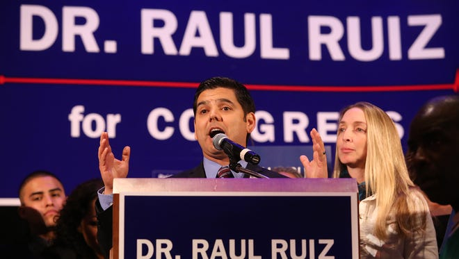 Dr. Raul Ruiz , with his wife Monica alongside, addresses his supporters at his victory party at the Agua Caliente Casino Tuesday, November 4, 2014.