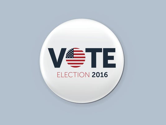 Realistic round badge with shadow. Presidential election 2016