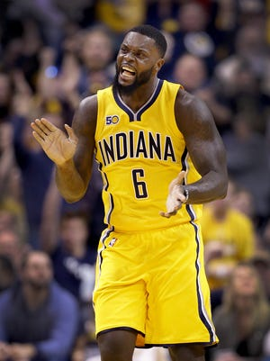 Indiana Pacers guard Lance Stephenson celebrated a play against the Toronto Raptors. The Pacers beat the Raptors 108-90 on Tuesday.