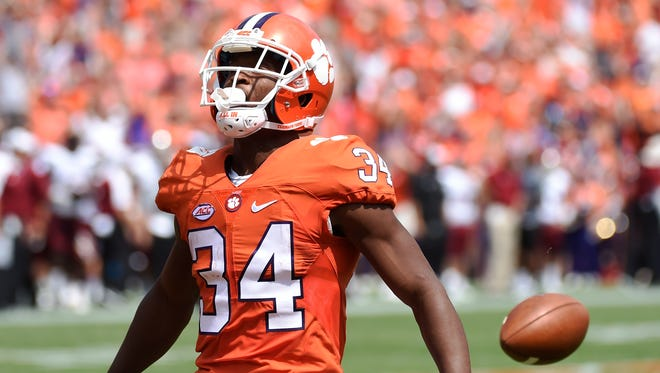 Clemson wide receiver Ray-Ray McCloud drops the football short of the goal line during the first half of an NCAA college football game against Troy in Clemson, S.C.