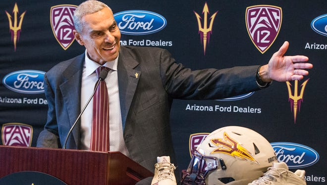 Arizona State University head football coach Herman Edwards takes questions from the media at Sun Devil Stadium on Dec. 4, 2017.