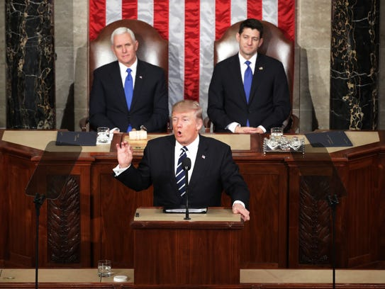 President Donald Trump addresses a joint session of